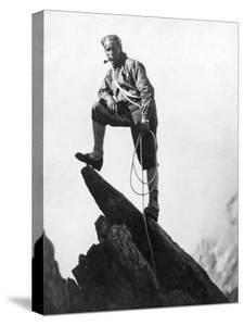 Mountaineer Takes A Break (b/w photo)