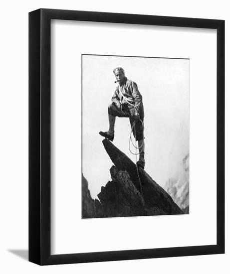 Mountaineer Takes A Break (b/w photo)--Framed Photographic Print