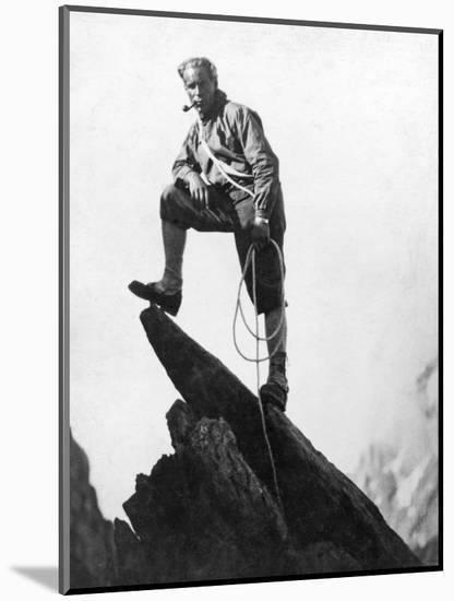 Mountaineer Takes A Break (b/w photo)--Mounted Photographic Print