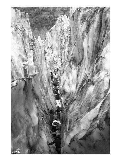 Mountaineering Party in Bottom of Crevasse, ca. 1905-Ashael Curtis-Giclee Print