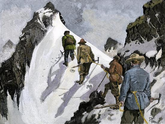 Mountaineers on a Couloir in the Alps, Circa 1890--Giclee Print