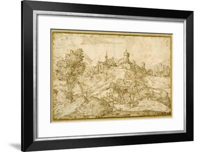 Mountainous Landscape with a Walled Hill Town: a Shepherd Accosted as He Tends His Flock in the…-Domenico Campagnola-Framed Giclee Print