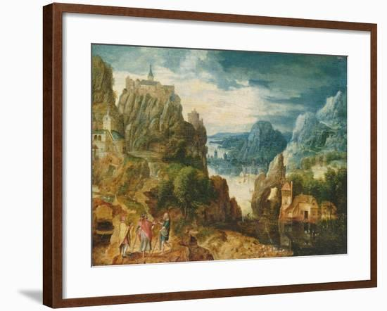 Mountainous Landscape with the Road to Emmaus, 1597-Lucas van Valckenborch-Framed Giclee Print