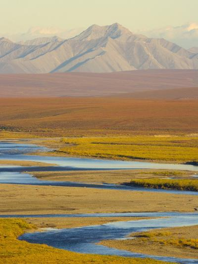 Mountains and Winding River in Tundra Valley-John Eastcott & Yva Momatiuk-Photographic Print