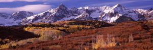 Mountains Covered with Snow and Fall Colors, Near Telluride, Colorado, USA