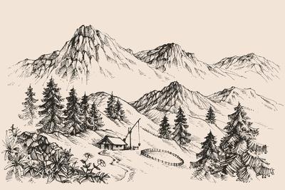 Farm in the Mountains Print