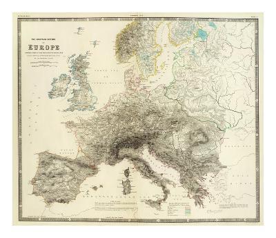 Mountains of Europe, c.1854-Alexander Keith Johnston-Art Print