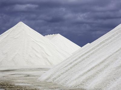 Mountains of Salt at the Salt Flats of Pekelmeer, Bonaire, Caribbean-David Fleetham-Photographic Print