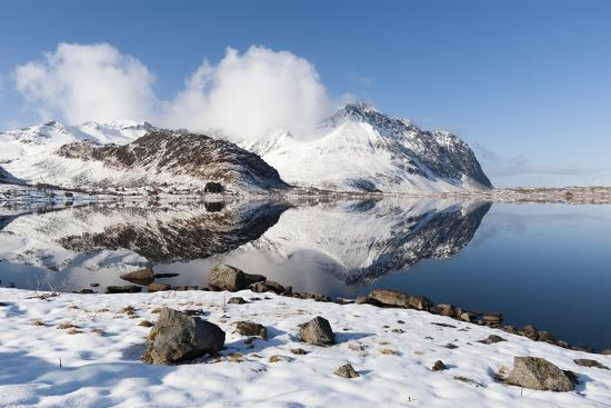 Mountains Reflect into the Calm Water of a Lake-Sergio Pitamitz-Photographic Print
