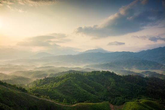 Mountains under Mist in the Morning in Zixi County, Fuzhou City,Jiangxi Province,China- Humannet-Photographic Print