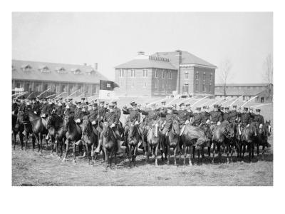 Mounted Cavalry Is Formation Drills at their Base--Art Print