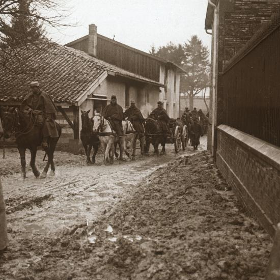 Mounted French soldiers with artillery, c1914-c1918-Unknown-Photographic Print