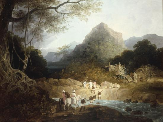 Mounted Horsemen and Bearers Crossing a Stream, India-Charles D'oyly-Giclee Print