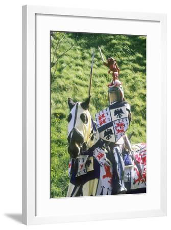 Mounted Medieval Knight and War Horse, Part of a Historical Re-Enactment--Framed Photographic Print