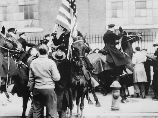 Mounted Police Clashing with Strikers, Outside an Electrical Plant in Philadelphia--Photo