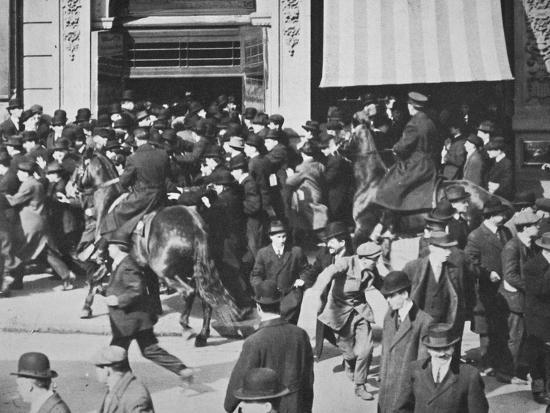 Mounted police disperse a crowd, Union Square, New York City, USA, late 19th or early 20th century-Unknown-Photographic Print