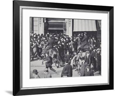 Mounted Police Dispersing a Crowd Gathering in Union Square, New York--Framed Photographic Print