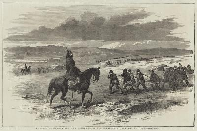 Mounted Policeman for the Crimea, Soldiers Dragging Stores to the Camp--Giclee Print