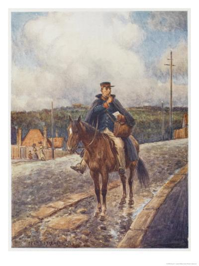 Mounted Postman in the Australian Outback-Percy F^s^ Spence-Giclee Print