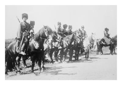 Mounted Russian Cossacks Scan the Battlefield--Art Print