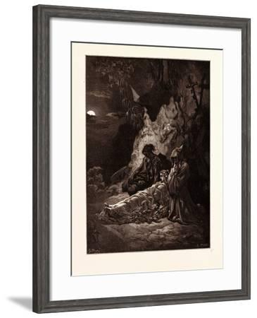 Mourning by Moonlight-Gustave Dore-Framed Giclee Print