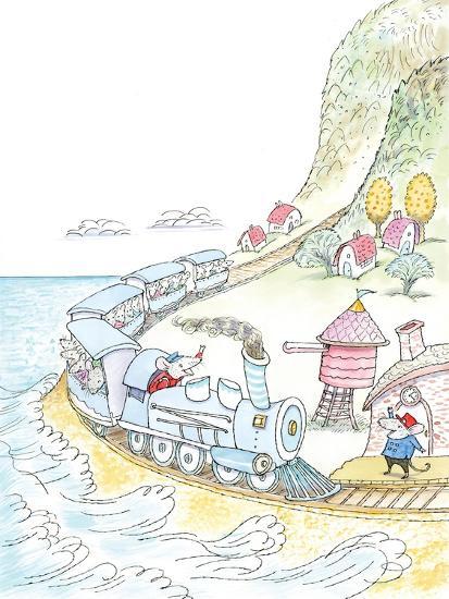 Mouse Train - Turtle- Marsha Winborn-Giclee Print