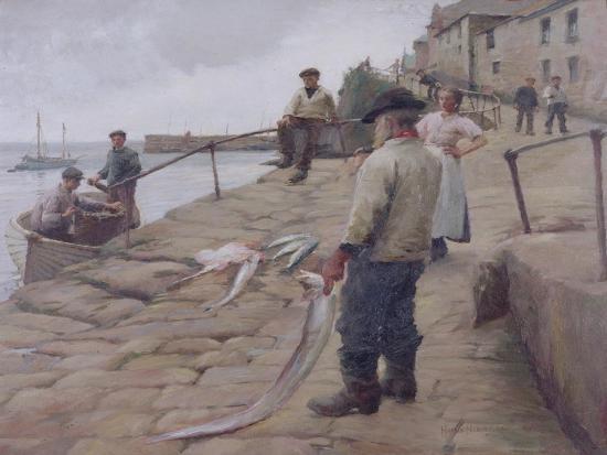 Mousehole Harbour, 1907-Harold Harvey-Giclee Print