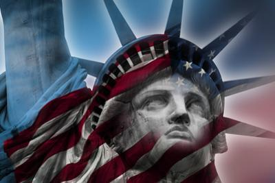 Double Exposure Image of the Statue of Liberty and the American Flag by moussa81