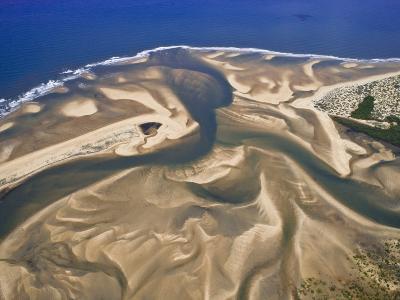 Mouth of a River Creates a Sand Delta on Mozambique's North Coast-Michael Polzia-Photographic Print