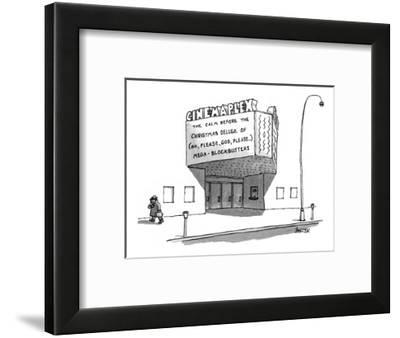 "Movie theater marquee reads ""The Calm Before the Christmas Deluge of - New Yorker Cartoon-Jack Ziegler-Framed Premium Giclee Print"