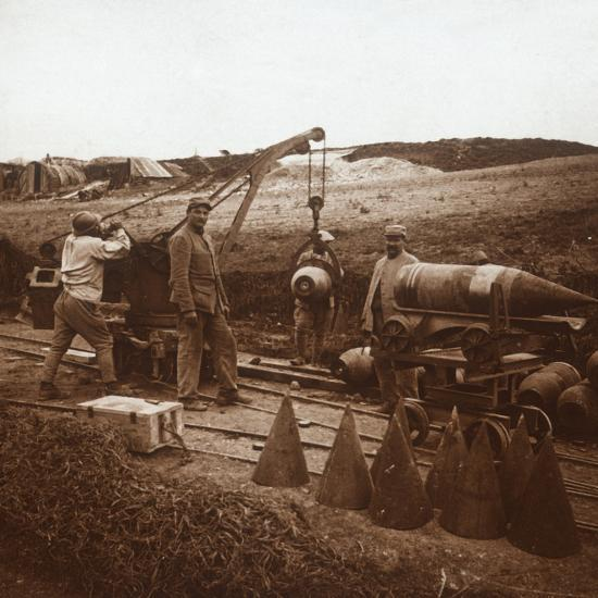 Moving shells with crane, Genicourt, northern France, c1914-c1918-Unknown-Photographic Print