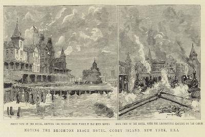 Moving the Brighton Beach Hotel, Coney Island, New York, USA--Giclee Print