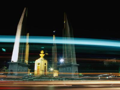 Moving Traffic at Democracy Monument, Bangkok, Thailand-Ryan Fox-Photographic Print