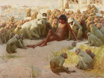Mowgli Made Leader of the Bandar-Log, 1918-John Charles Dollman-Giclee Print