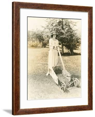 Mowing the Lawn--Framed Photo