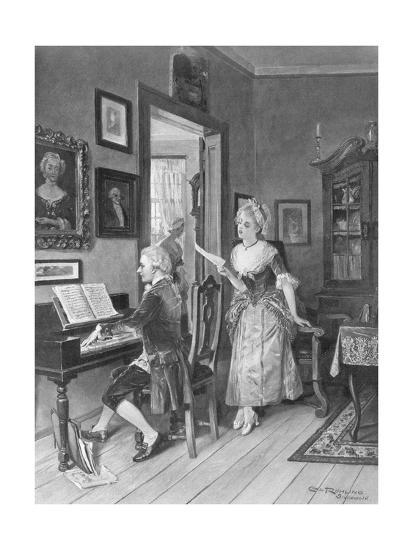 Mozart Playing Piano for Young Songstress--Giclee Print