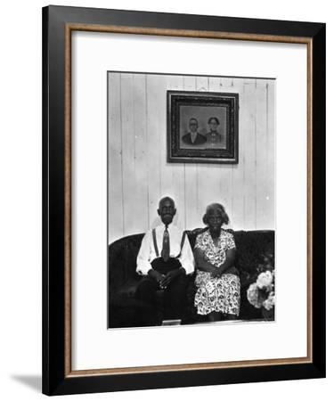 Mr. and Mrs. Albert Thornton, Sr. the Son of a Slave, a Sharecropper and Independent Farmer-Gordon Parks-Framed Premium Photographic Print