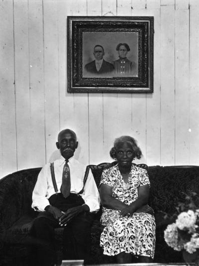 Mr. and Mrs. Albert Thornton, Sr. the Son of a Slave, a Sharecropper and Independent Farmer-Gordon Parks-Photographic Print