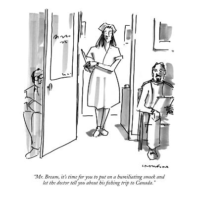 """Mr. Bream, it's time for you to put on a humiliating smock and let the do?"" - New Yorker Cartoon-Michael Crawford-Premium Giclee Print"