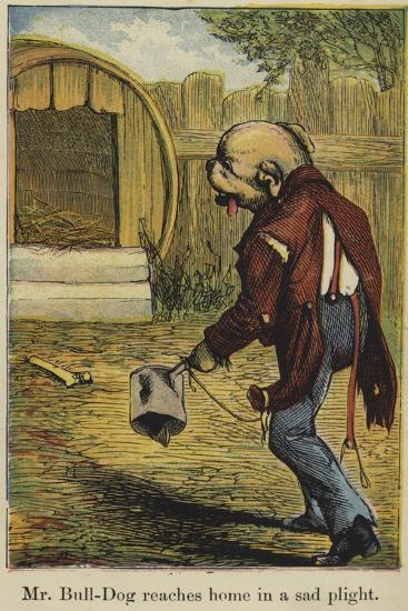 Mr Bull-Dog Reaches Home in a Sad Plight--Giclee Print
