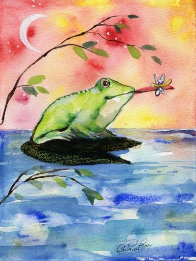 Mr Bullfrog With Firefly-sylvia pimental-Art Print