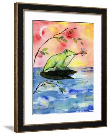 Mr Bullfrog With Firefly-sylvia pimental-Framed Art Print