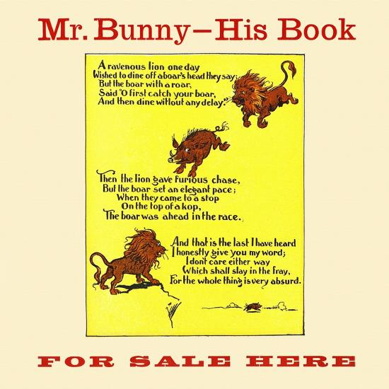 Mr. Bunny-His Book, For Sale Here-W.H. Fry-Art Print