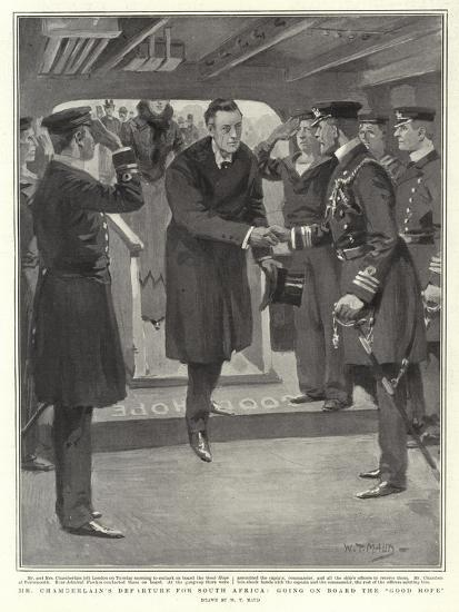 Mr Chamberlain's Departure for South Africa, Going on Board the Good Hope-William T^ Maud-Giclee Print