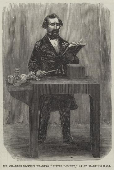Mr Charles Dickens Reading Little Dombey, at St Martin's Hall--Giclee Print