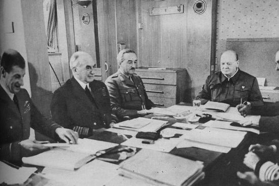 'Mr Churchill at a conference on board ship', 1943-1944.-Unknown-Photographic Print