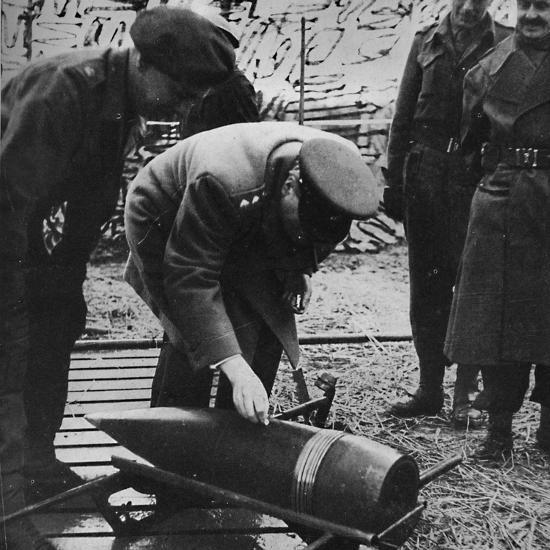 'Mr. Churchill autographing a present for Hitler', c1940s, (1945)-Unknown-Photographic Print