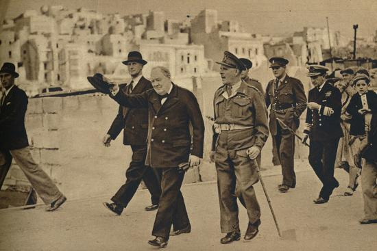 'Mr. Churchill called at Malta, where he is seen with Field-Marshal Lord Gort', 1943-1944-Unknown-Photographic Print