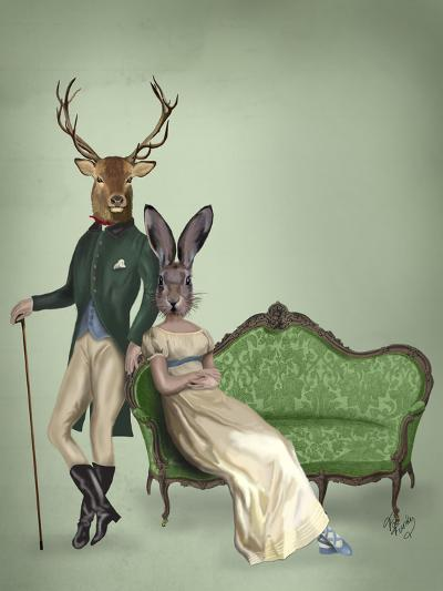 Mr Deer and Mrs Rabbit-Fab Funky-Art Print