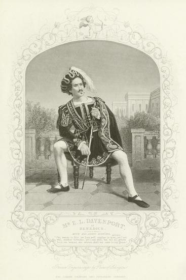 Mr E L Davenport as Benedick, Much Ado About Nothing, Act II, Scene III--Giclee Print